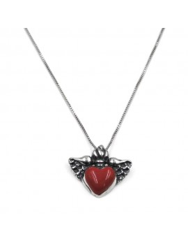 Enamelled Sterling Silver Winged Heart Necklace