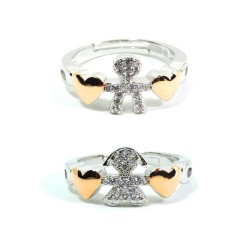 925 Sterling Silver Baby Hearts Ring with White Zircons