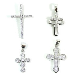 925 Sterling Silver Cross Pendant with White Zircons