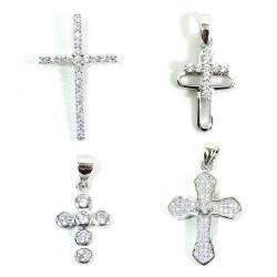 Ciondoli Croce in Argento 925 e Zirconi Bianchi