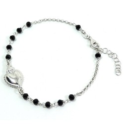 925 Sterling Silver Holy Heart Rosary Bracelet with Black Zircons