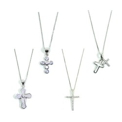 925 Sterling Silver Necklace with Cross Pendant with White Zircons by Damiano Argenti