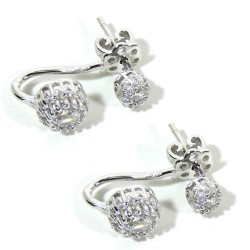 925 Sterling Silver Double Light Point Earrings with White Zircons by Damiano Argenti