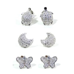 925 Sterling Silver Baby Earrings with White Zircons by Damiano Argenti