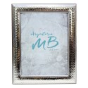 Silver Picture Frame Glossy Hammered Double Cord