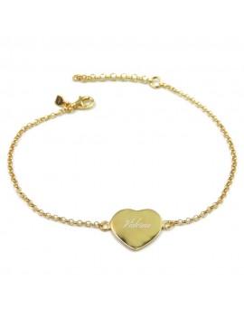Customizable Gold Plated Sterling silver Heart Medal Bracelet