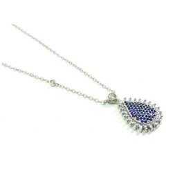 925 Sterling Silver Necklace with Blue Drop Pendant