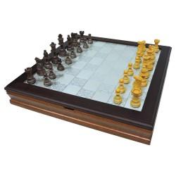 Scacchiera Scatola Giochi in Legno con Piano in Argento 925 e Vetro
