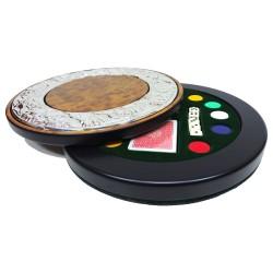 Set Poker Circolare Scorrevole in Radica di Noce con Lastra in Argento 925