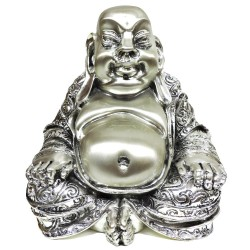 Old Buddha Silver Plated Resin Sculpture by Argenteria MB