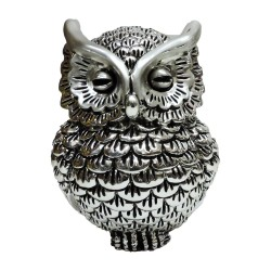 Silver Plated Resin Owl Sculpture