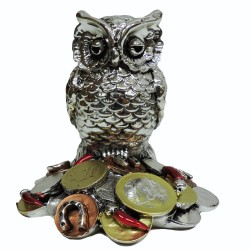Silver Plated Resin Lucky Owl with Coins Sculpture