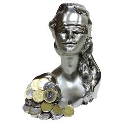 Scultura Mezzo Busto Dea Bendata con Euro in Laminato Argento