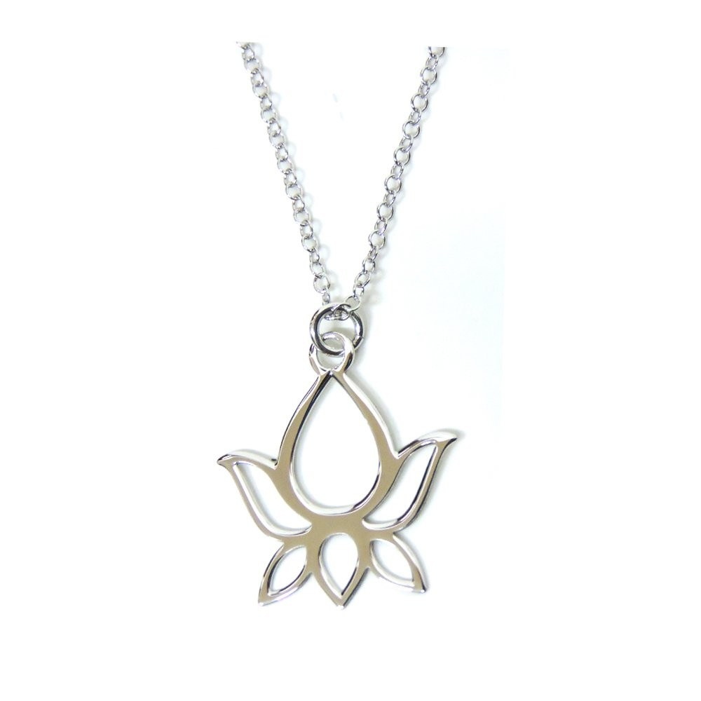 925 Sterling Silver Necklace With Lotus Flower Pendant Mb