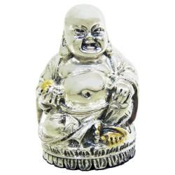 Scultura Buddha Anziano in Laminato Argento