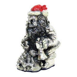 Santa Claus with Bluebell Silver Plated Resin Sculpture