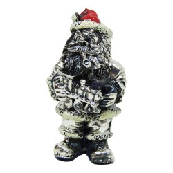 Santa Claus with Toy Train Silver Plated Resin Sculpture