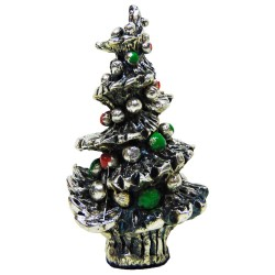 Decorated Christmas Tree Silver Plated Resin Sculpture
