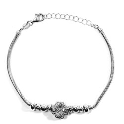 925 Sterling Silver Snake Bracelet with Shamrock