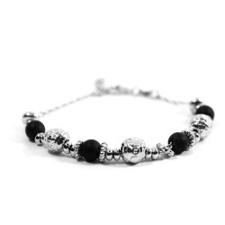 925 Sterling Silver Thai Bracelet With Black Stones
