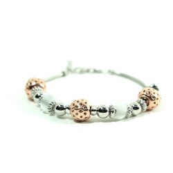 925 Sterling Silver Bracelet Copper Charms and White Stones