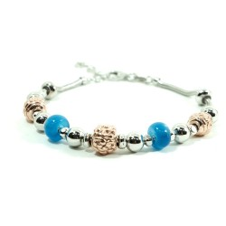 925 Sterling Silver Bracelet With Copper Charms and Blue Stones