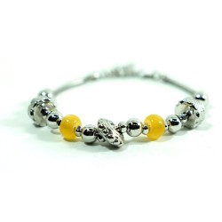 925 Sterling Silver Thai Bracelet with Yellow Stones