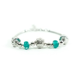 Sterling Silver Bracelet Owl Charm and Green Stones