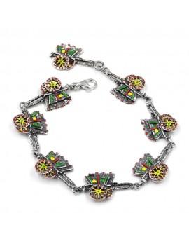 Enamelled Sterling Silver Sicilian Cart Bracelet