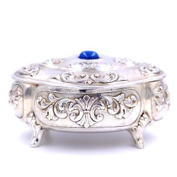 925 Sterling Silver Baroque Oval Box