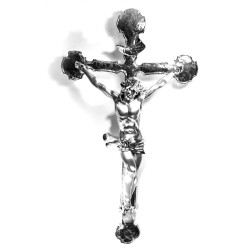 Silver Plated Resin Crucifix Sculpture