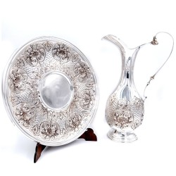 800 Sterling Silver Amphora with Chiseled Shells Dish by Siddiolo Argenti