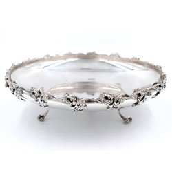 925 Sterling Silver glossy dish with flowers edge