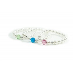 White Pearls Bracelet with Dice 925 Sterling Silver and Swarovski by Damiano Argenti