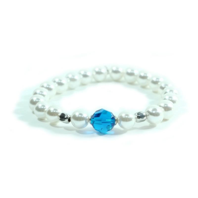 925 Perle In E Elastico Dadini Con Swarovski Bracciale Rodiato Argento IEDHW92