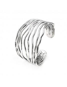 925 Sterling Silver Wavy Lines Rigid Bracelet