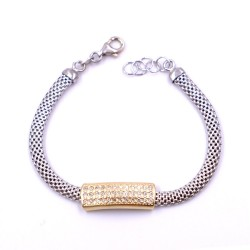 925 Sterling Silver Mesh Bracelet with golden band and zirconia