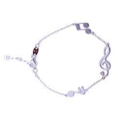 925 Sterling Silver Musical Notes Bracelet