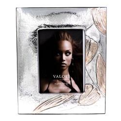 925 Sterling Silver Photo Frame 6 x 8 Rose Tulip Model Mahogany Back