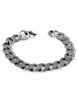925 Sterling Silver Dotted Curb Chain Bracelet