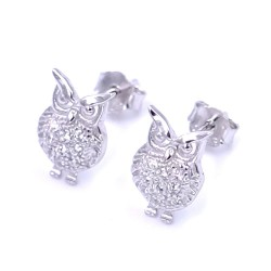 925 Sterling Silver Owl Earrings with White Zircons