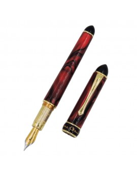 Red Pearl Veined Resin and Sterling Silver Fountain Pen