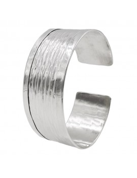 925 Sterling Silver Rigid Band Bracelet with Shiny Edge