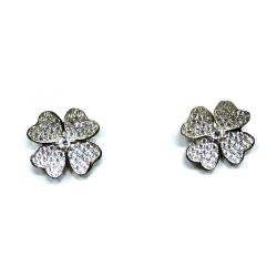 925 Sterling Silver Quatrefoil Earrings with White Zircons by Damiano Argenti