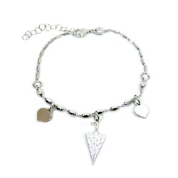 925 Sterling Silver Rhodium Umbrella and Hearts Bracelet