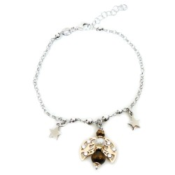 925 Sterling Silver Bracelet With Cherub Pendant with Pearls and Tiger's Eye by Damiano Argenti