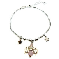 925 Sterling Silver Bracelet With Cherub Pendant with Pearls and Pink Stones by Damiano Argenti