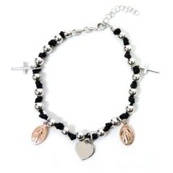 925 Sterling Silver Rhodium Black Rope Rosary Bracelet