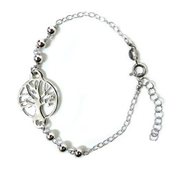 925 Sterling Silver Rhodium Tree of Life Bracelet