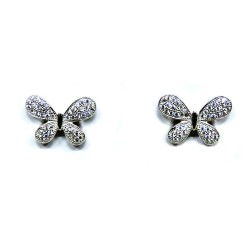 925 Sterling Silver Butterfly Earrings with White Zircons by Damiano Argenti